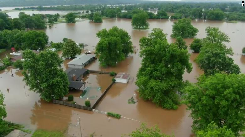 This aerial image from Tuesday shows flooding near Sand Springs, Oklahoma.
