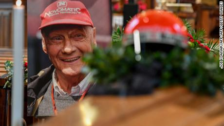 The helmet of the former Formula One driver Niki Lauda sits on top of his coffin and next to his portrait during a funeral service at St. Stephen's Cathedral (Stephansdom) in Vienna, Austria, on May 29, 2019. - Legendary Formula One driver Niki Lauda has died at the age of 70 on May 21, 2109 triggering an outpouring of praise for a man whose track victories and comeback from a horrific crash enthralled race fans worldwide. (Photo by JOE KLAMAR / AFP)        (Photo credit should read JOE KLAMAR/AFP/Getty Images)