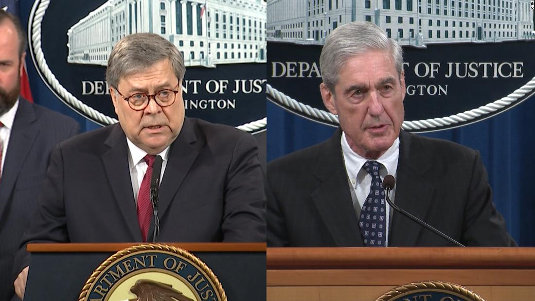 Hear Mueller's account contrasted with Barr's remarks (2019)