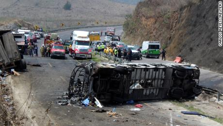 A general view shows the site of a fiery accident in the southeastern Mexican state of Veracruz.