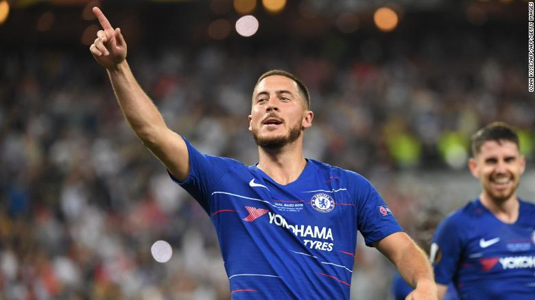 Chelsea's Belgian midfielder Eden Hazard scored two goals in the final.