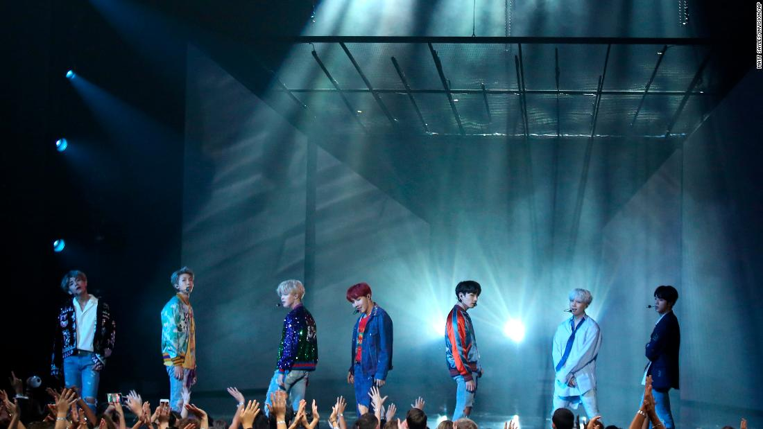 BTS make their US television debut at the American Music Awards on November 19, 2017, in Los Angeles.