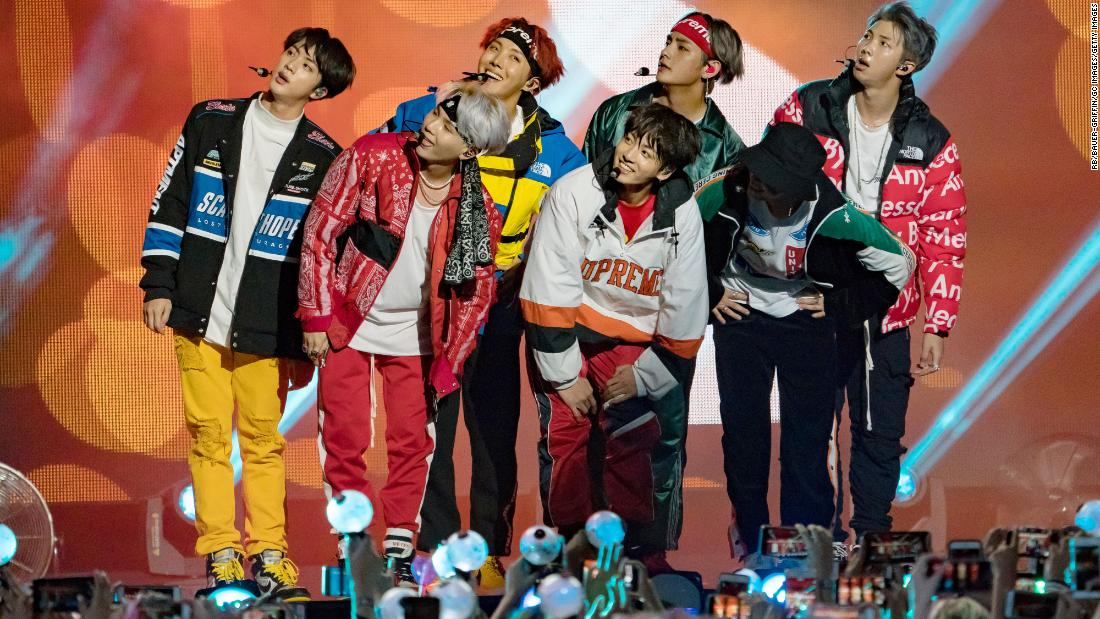 Following their American Music Awards performance, BTS appear on a handful of US talk shows. Here, BTS perform on Jimmy Kimmel Live! on November 29, 2017, in Los Angeles.