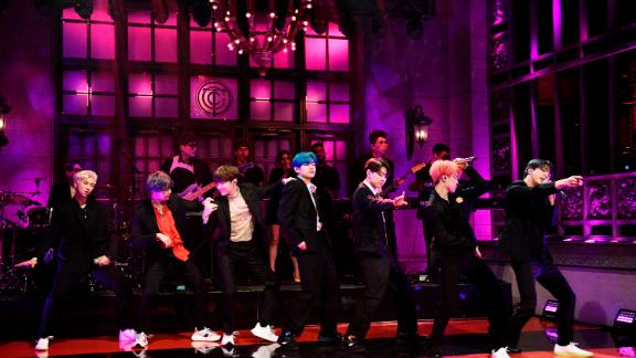 "BTS become the first K-pop group to perform on Saturday Night Live on April 13, 2019. They perform their new single ""Boy With Luv."""