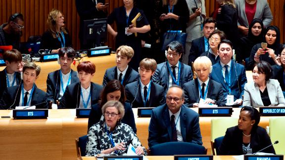 BTS become the first ever K-pop group to address the United Nations at the UN General Assembly in New York on September 24, 2018. Leader Kim Nam-joon urges young people to believe in their own convictions.