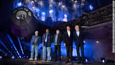 George Lucas, Billy Dee Williams, Mark Hamil, Bob Iger and Harrison Ford attend the pre-opening launch of Star Wars: Galaxy's Edge at Disneyland on May 29, 2019. (Photo by Richard Harbaugh/Disneyland Resort via Getty Images)
