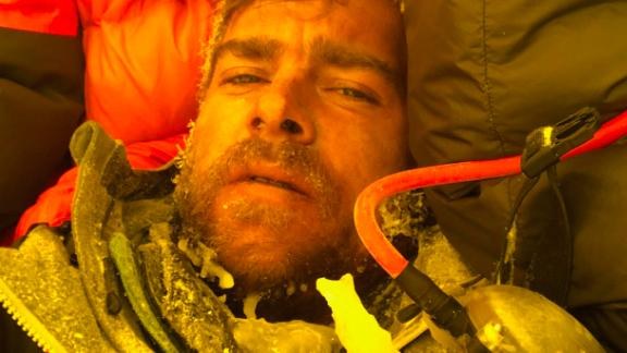 """Ian Stewart covered in icicles and snow collapses in his tent after summiting Everest nearly killed him. He says what kept him going was his mantra, based on his promise to his wife. """"You promised Katie to get back safely."""" he repeated over and over."""