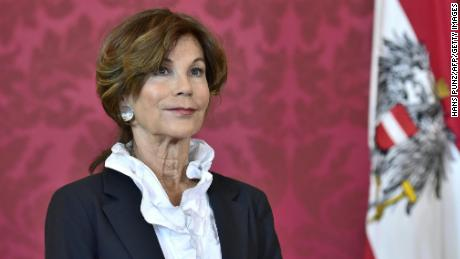 Brigitte Bierlein looks on as Austria's President names her as interim chancellor on Thursday.