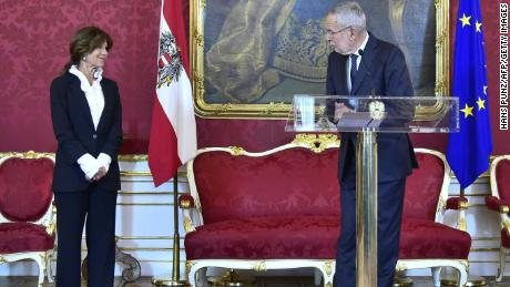 Austrian President Alexander Van der Bellen makes a statement alongside the country's new interim chancellor, Brigitte Bierlein, on Thursday.