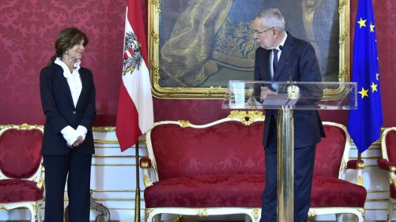 Austrian President Alexander Van der Bellen makes a statement alongside the country's new interim chancellor, Brigitte Bierlein, on Thursday.