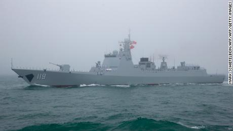 The Chinese 52D-controlled missile Destroyer Guiyang participates in a naval parade on April 23, 2019.