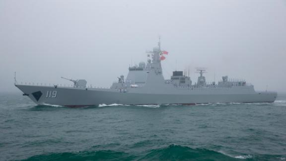 The Chinese Type 52D guided missile destroyer Guiyang  participates in a naval parade  on April 23, 2019.