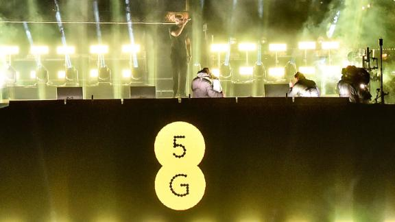 Stormzy performs at a 5G-powered gig to mark the launch of a 5G network on EE, London.