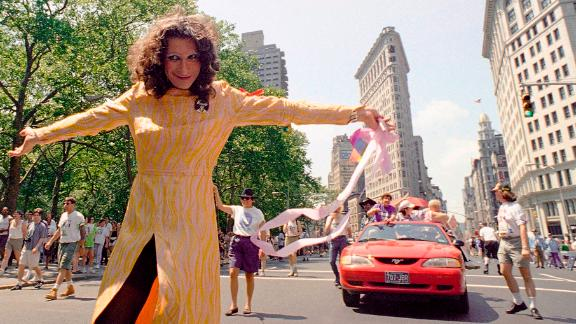 In this June 26, 1994, file photo, LGBT pioneer Sylvia Rivera leads an ACT-UP march past New York's Union Square Park. (AP Photo/Justin Sutcliffe, File)