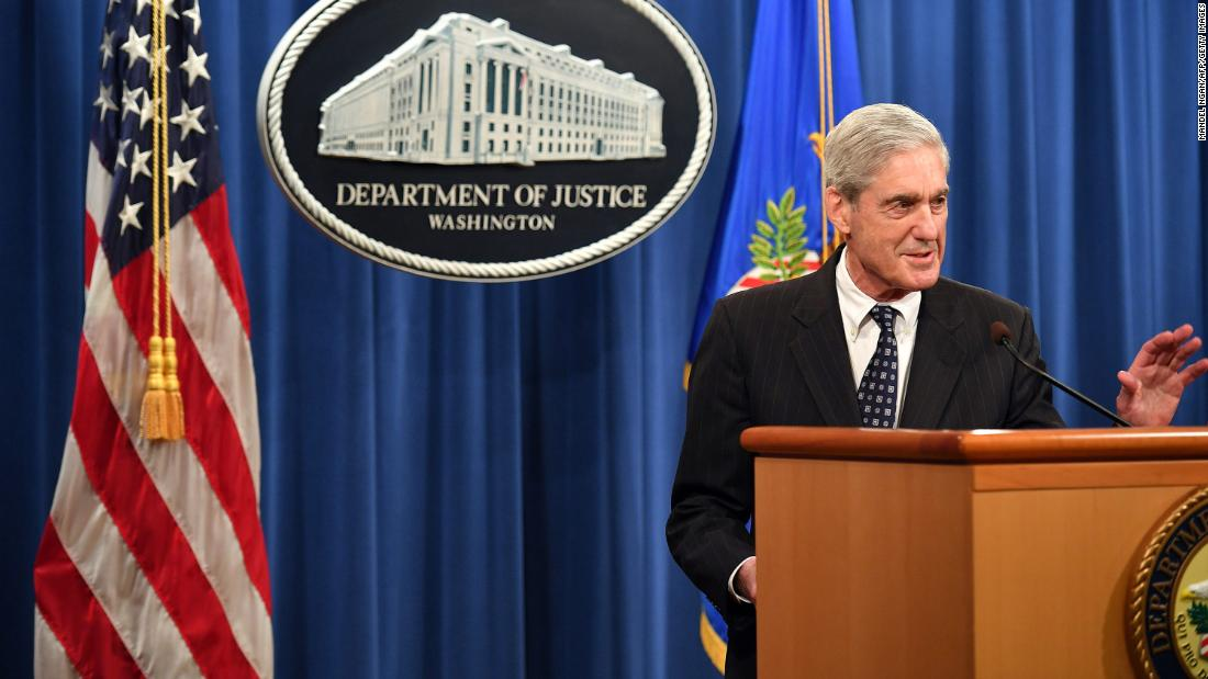 "Special counsel Robert Mueller, whose office investigated Russian interference in the US presidential election, makes a statement in Washington on Wednesday, May 29. <a href=""https://www.cnn.com/2019/05/29/politics/robert-mueller-special-counsel-investigation/index.html"" target=""_blank"">In his first public comments since being appointed special counsel,</a> Mueller emphasized that Justice Department guidelines did not allow him to charge a sitting President, and as a result, his office did not determine whether President Donald Trump had committed obstruction of justice."