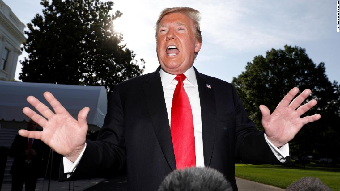 "US President Donald Trump speaks to the media outside the White House as he prepares to travel to Colorado on Thursday, May 30. Trump <a href=""https://www.cnn.com/2019/05/30/politics/trump-russia-election-interference-help/index.html"" target=""_blank"">launched a furious broadside against Robert Mueller</a> a day after Mueller delivered a statement about his recent investigation into Russian interference."