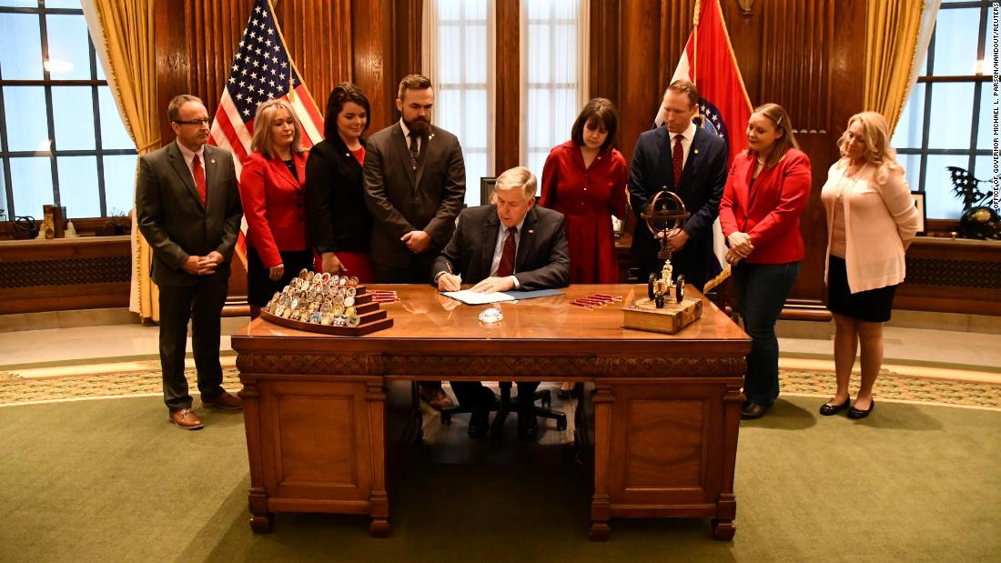 "Missouri Gov. Mike Parson signs a strict anti-abortion bill into law on Friday, May 24. <a href=""https://www.cnn.com/2019/05/24/politics/missouri-abortion-bill-signed/index.html"" target=""_blank"">The legislation</a> prohibits abortions after eight weeks of pregnancy. Several other states, including Georgia and Mississippi, have also passed restrictive bills in the hopes that the Supreme Court's conservative justices will reconsider Roe v. Wade, the 1973 ruling that legalized abortion in the United States."