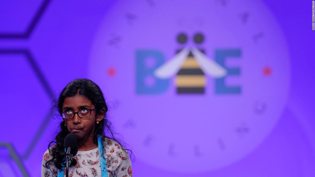 Nithika Rangan of Elk Grove, California, concentrates as she competes in the Scripps National Spelling Bee on Tuesday, May 28.