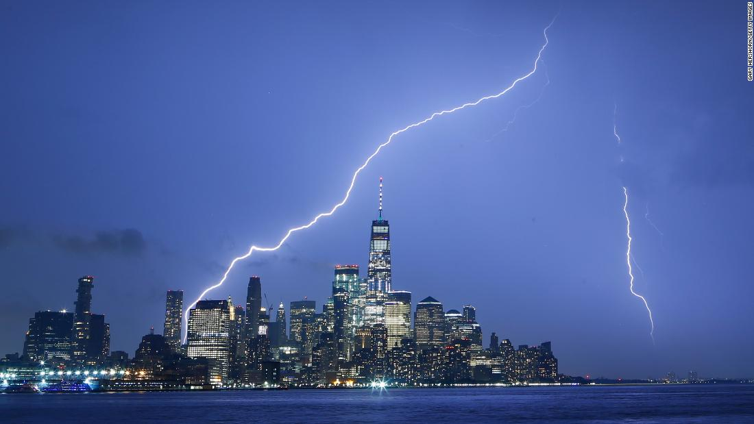 Lightning strikes near New York's One World Trade Center on Tuesday, May 28.
