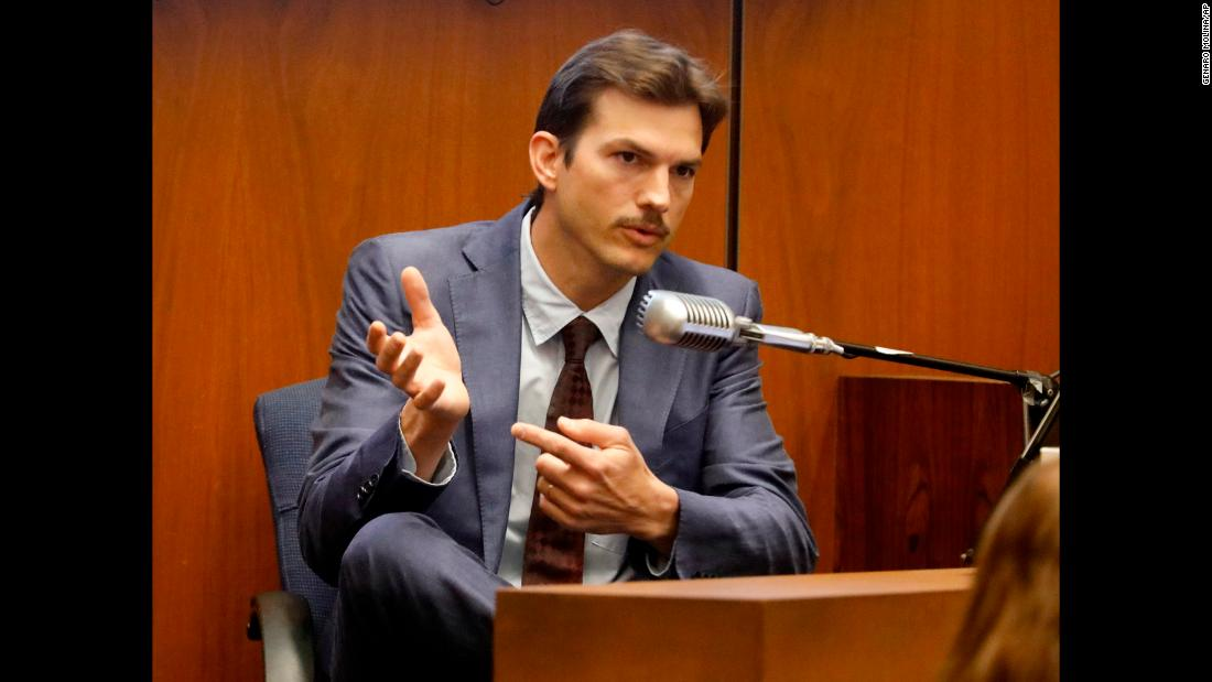 "Actor Ashton Kutcher <a href=""https://www.cnn.com/2019/05/29/us/ashton-kutcher-testifies-in-hollywood-ripper-trial/index.html"" target=""_blank"">testifies during the murder trial of Michael Gargiulo</a> on Wednesday, May 29. Kutcher was pursuing a relationship with Ashley Ellerin when she was killed in 2001. Gargiulo, 43, is charged with Ellerin's murder as well as the murder of Maria Bruno. He has pleaded not guilty to those charges as well as a separate charge of attempted murder."