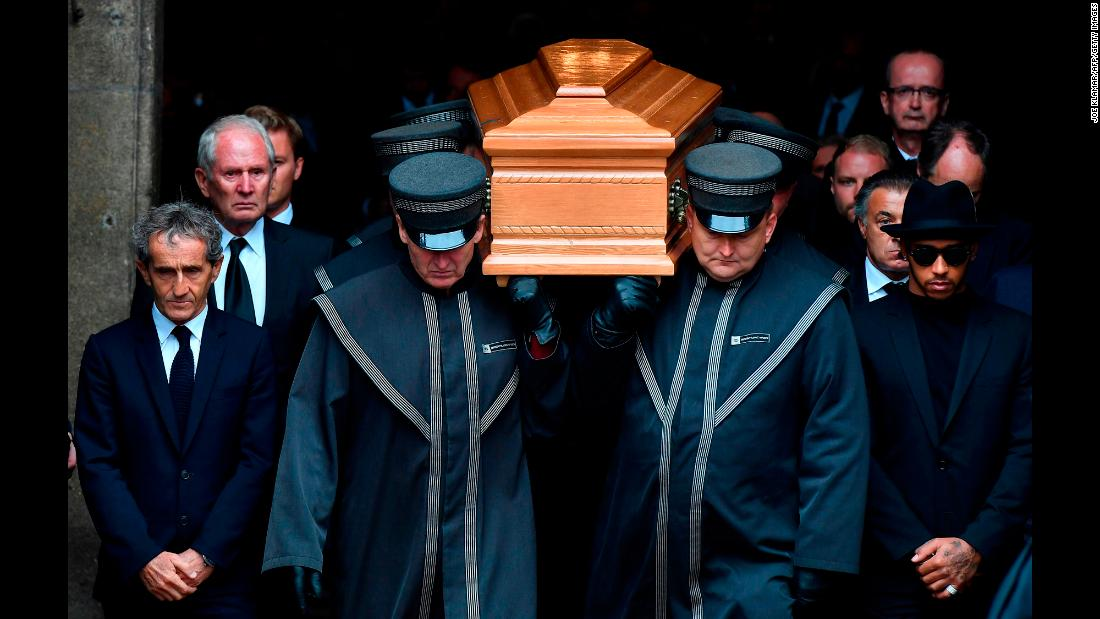 "Formula One champion Lewis Hamilton, right, and former champion Alain Prost, left, walk next to the coffin of <a href=""http://www.cnn.com/2019/05/21/motorsport/gallery/niki-lauda-gallery/index.html"" target=""_blank"">Niki Lauda</a> as it's carried out of a cathedral in Vienna, Austria, on Wednesday, May 29. Lauda, who recovered from a near-fatal accident to become one of racing's greatest drivers, <a href=""https://www.cnn.com/2019/05/21/sport/niki-lauda-death-intl/index.html"" target=""_blank"">died Monday</a> at the age of 70."