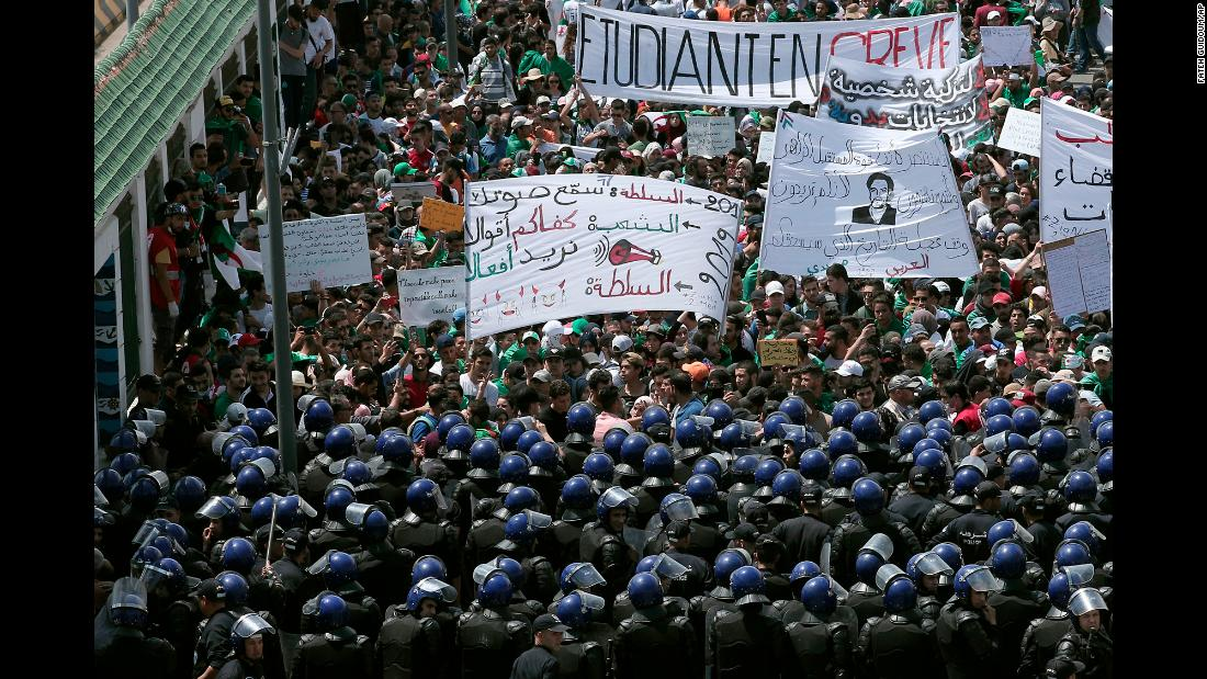 "Algerian students protest in the capital of Algiers on Tuesday, May 28. Longtime President Abdelaziz Bouteflika <a href=""https://www.cnn.com/2019/04/03/middleeast/gallery/abdelaziz-bouteflika/index.html"" target=""_blank"">resigned in April,</a> but demonstrators want deeper change."