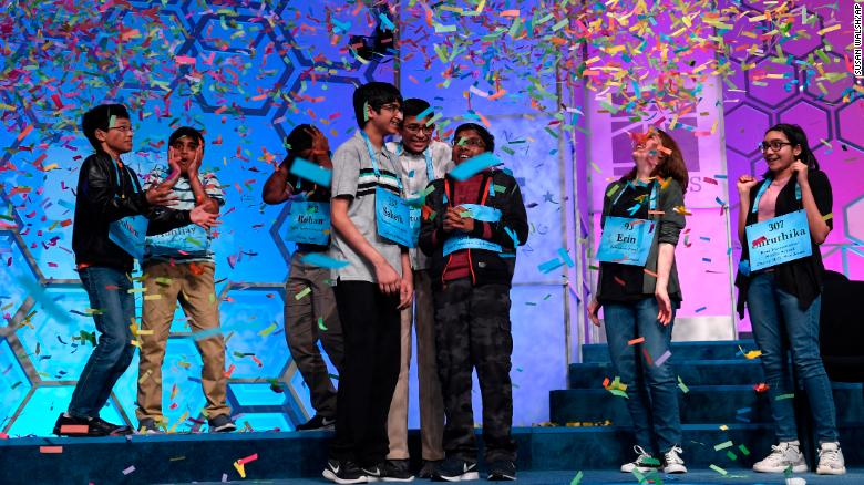 The eight co-champions of the 2019 Scripps National Spelling Bee, from left, Sohum Sukhatankar, 13, of Dallas, Texas; Abhijay Kodali, 12, of Flower Mound, Texas; Rohan Raja, 13, of Irving, Texas; Saketh Sundar, 13, of Clarksville, Maryland; Christopher Serrao, 13, of Whitehouse Station, New Jersey; Rishik Gandhasri, 13, of San Jose, California; Erin Howard, 14, of Huntsville, Alabama; and Shruthika Padhy, 13, of Cherry Hill, New Jersey.