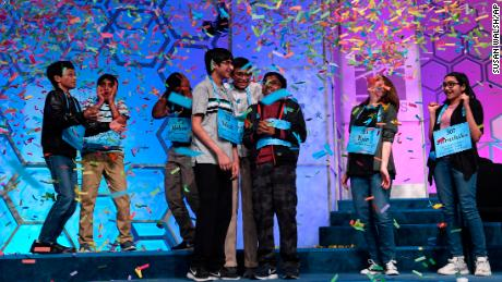 The eight co-champions of the 2019 Scripps National Spelling Bee, from left, Sohum Sukhatankar, 13, of Dallas, Texas; Abhijay Kodali, 12, of Flower Mound, Texas; Rohan Raja, 13, of Irving, Texas; Saketh Sundar, 13, of Clarksville, Maryland; Christopher Serrao, 13, of Whitehouse Station, New Jersey; Rishik Gandhasri, 13, of San Jose, California; Erin Howard, 14, of Huntsville, Alabama; and Shruthika Padhy, 13, of Cherry Hill, New Jersey.