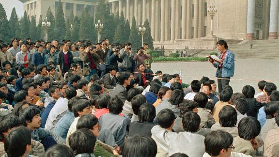 A Chinese student leader reads a list of demands to students staging a sit-in in front of Beijing's Great Hall of the People on April 18.
