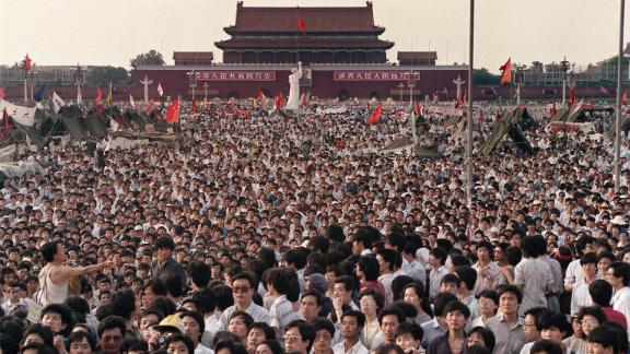 Hundreds of thousands of Chinese gather on June 2, 1989, in Tiananmen Square around a 10-metre statue of the Goddess of Democracy,  demanding democracy despite martial law in Beijing.