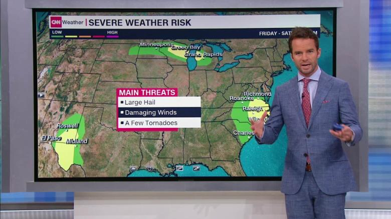 Flooding and severe storms threaten various parts of the US