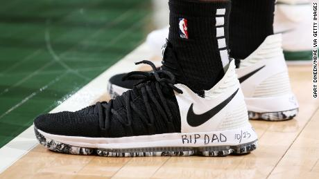 "Siakam has been writing ""RIP Dad"" on his shoes during playoff games for the Raptors."