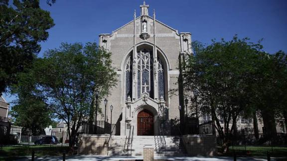New Orleans' National Shrine of Our Lady of Prompt Succor sustained damage in Hurricane Katrina.