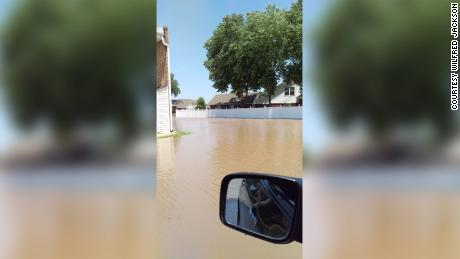 Shelia Clayton's son, Wilfred Jackson, took this photo of the flooding near the family's apartment in Fort Smith, Arkansas.