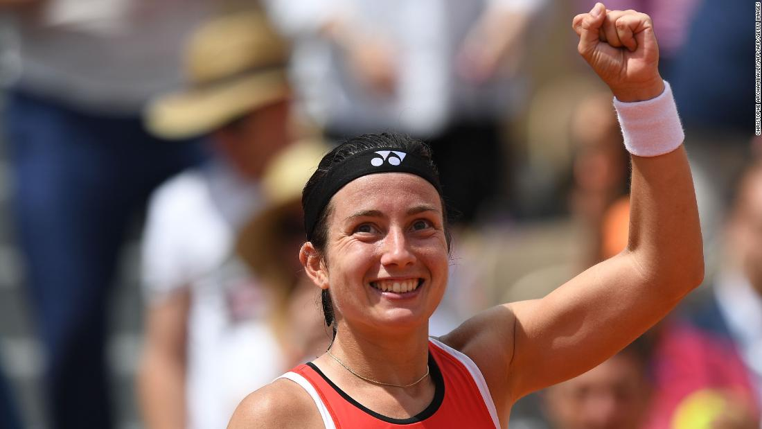 Anastasia Sevastova was all smiles after saving five match points -- in three different games -- to beat Elise Mertens.