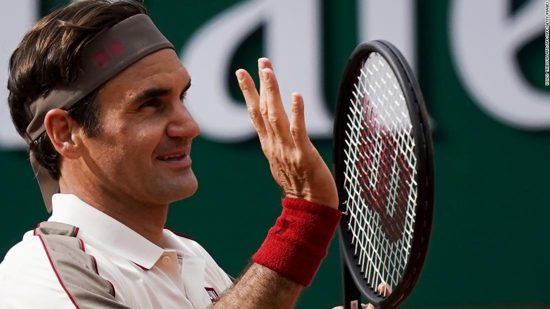 Roger Federer was all smiles after he beat Casper Ruud at the French Open.