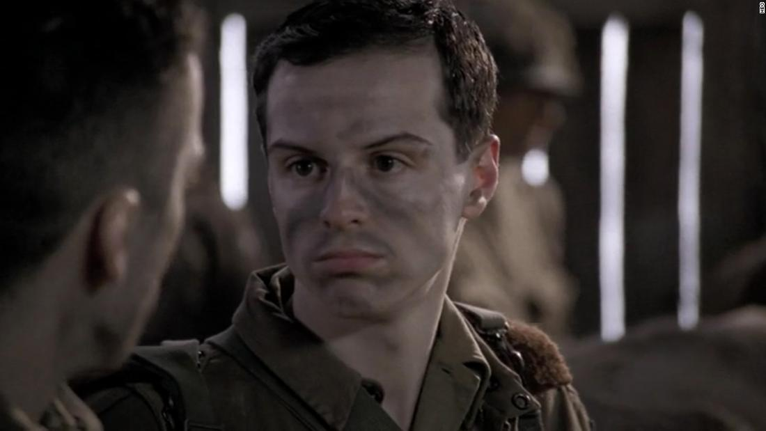 "Known to most now as Moriarty or ""Fleabag's"" ""hot priest,"" Andrew Scott has a part in the ""Band of Brothers"" episode called ""Day of Days."" His character, John Hall, unfortunately meets a sad end."