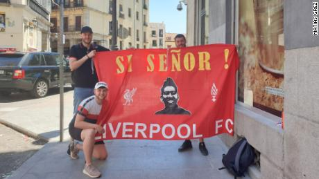 Liverpool fan Owen, 24 (bottom left), had a two-day layover in Ibiza to get to Madrid.