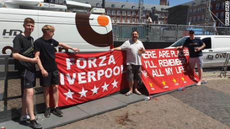 Liverpool fans (left to right) Danny, Dan, Paul and Kenny, in Plaza Mayor in central Madrid.