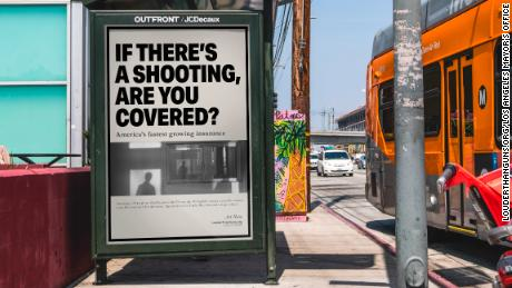 Gun violence insurance ads appear at bus stops throughout Los Angeles as part of a campaign to raise awareness about gun violence.