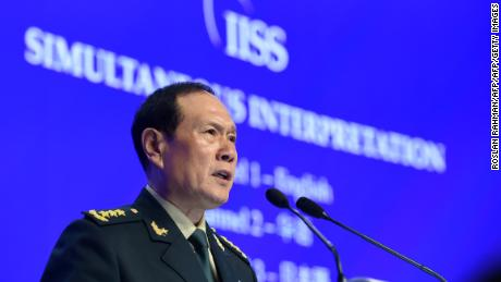 China's defense minister Wei Fenghe addresses the Shangri-La Dialogue in Singapore on June 2.