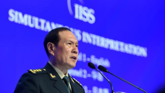 China Defence Minister Wei Fenghe addresses the Shangri-La Dialogue in Singapore on June 2.