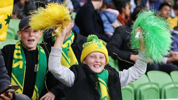 Matildas fans show their support during the Cup of Nations match between Australia and Argentina at AAMI Park in Melbourne, Australia, in March.