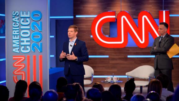 """Swalwell takes part in a CNN town-hall event in June 2019. """"I'm running for president to stop the shootings,"""" he told the crowd. Swalwell discussed his frustration with lawmakers' inaction. """"When I went to Congress, Sandy Hook happened. And there was nothing. Then Charleston: Nothing. San Bernardino: Nothing,"""" he said, before ticking off one mass shooting after another."""