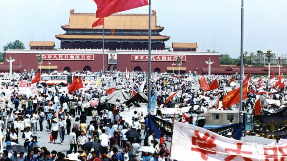 Students mill around Tiananmen Square in May 1989.