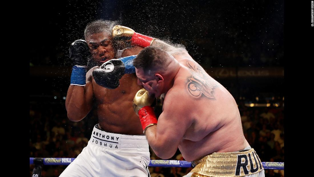 "Andy Ruiz Jr. punches Anthony Joshua during their heavyweight title fight at Madison Square Garden in New York City, on Saturday, June 1. Joshua, the favorite entering the fight, <a href=""https://www.cnn.com/2019/06/02/us/heavyweight-championship-tko/index.html"" target=""_blank"">suffered a stunning upset</a>, losing by technical knockout in the seventh round. With the win, Ruiz became the first Mexican-American heavyweight world champion."