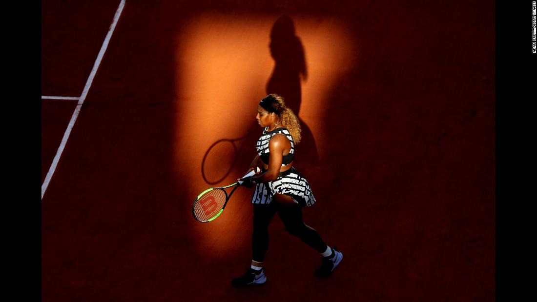 "Serena Williams walks along the baseline during her French Open third round singles match against Sofia Kenin at Roland Garros in Paris, France, on Saturday, June 1. Kenin, the underdog, <a href=""https://www.cnn.com/2019/06/01/tennis/osaka-siniakova-djokovic-french-open-halep-tennis-int-spt/index.html"" target=""_blank"">defeated Williams</a> in straight sets."