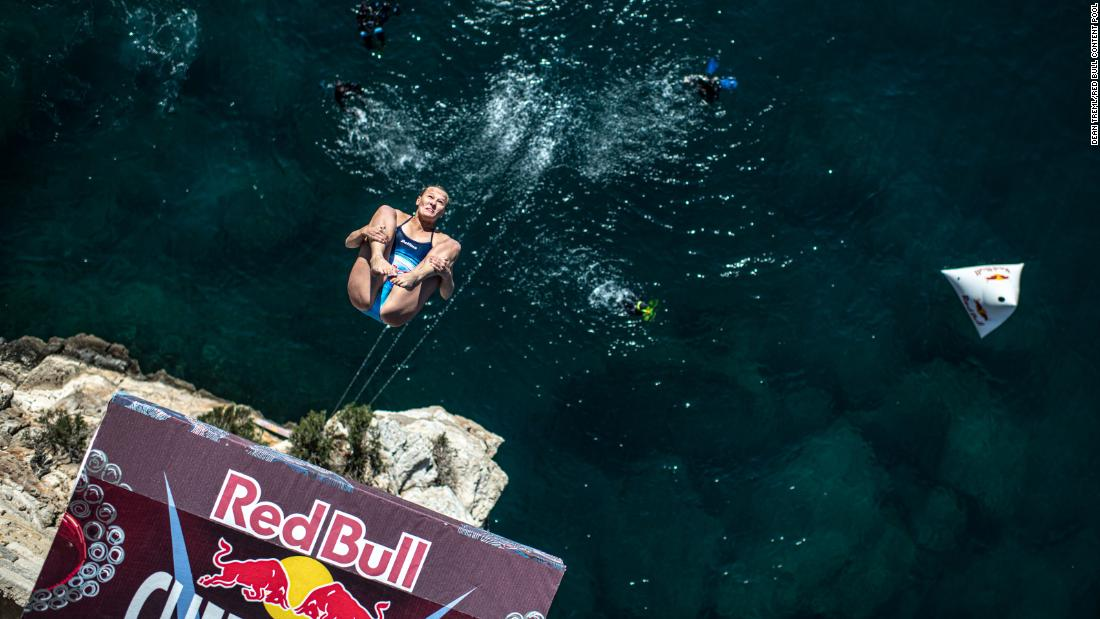 Rhiannan Iffland of Australia dives from the 21 meter platform during the third stop of the Red Bull Cliff Diving World Series in Polignano a Mare, Italy on Sunday, June 2.