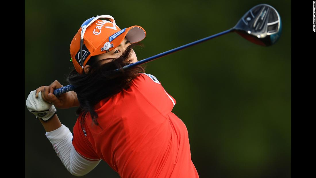 Haruka Amamoto of Japan hits her tee shot on the fourth hole during the second round of the U.S. Women's Open Championship at the Country Club of Charleston on Friday, May 31.