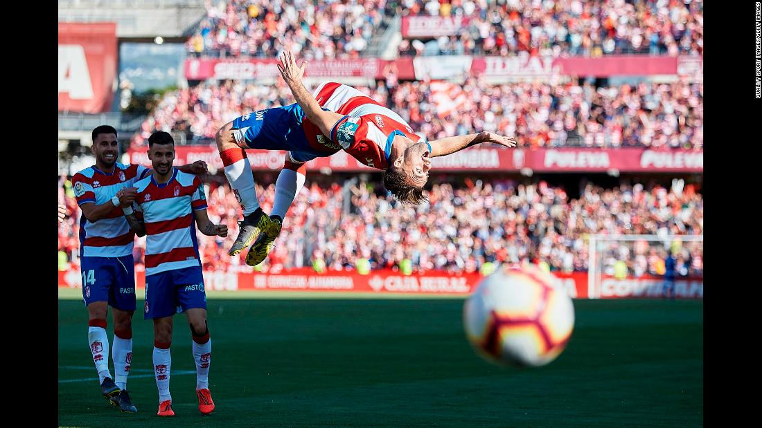 Rodrigo Ríos of Granada CF celebrates scoring his team's opening goal during the La Liga 123 match between Granada CF and Cadiz CF at Los Carmenes Stadium in Granada, Spain on Sunday, May 26.